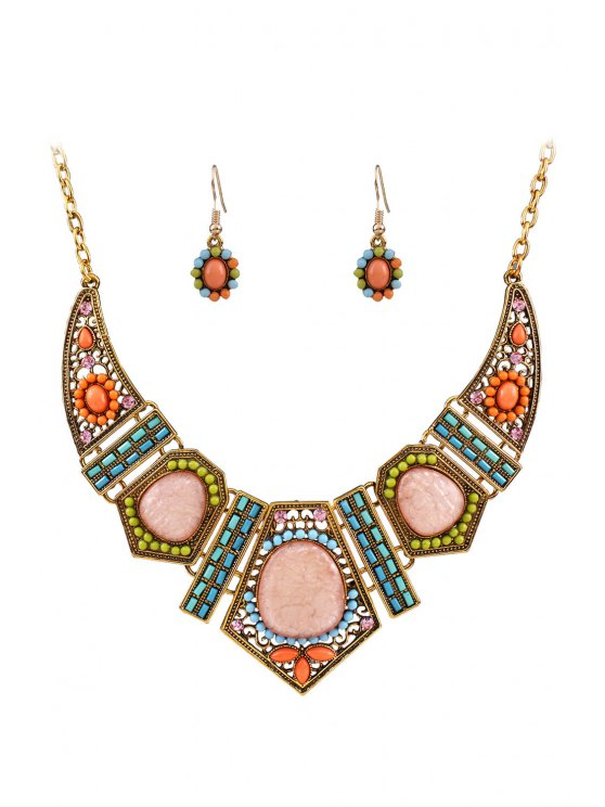 shops Vintage Geometric Resin Necklace and Earrings - GOLDEN