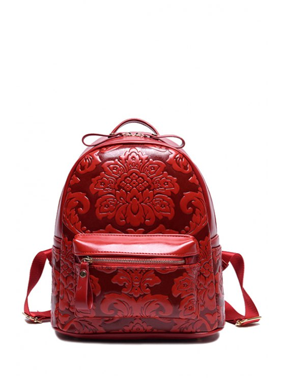 best Floral Embossed Solid Color Satchel - WINE RED