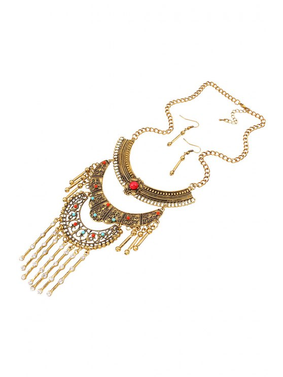Vintage Rhinestone Fringed Necklace and Earrings - GOLDEN  Mobile