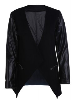 Open Front PU Leather Sleeve Trench Coat - Black S