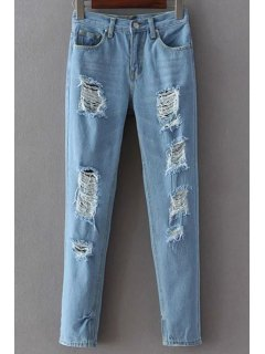 Broken Hole Narrow Feet Jeans - Light Blue S
