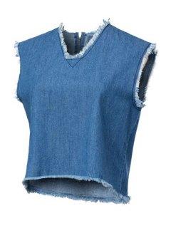 Zippered V Neck Sleeveless Denim Tank Top - Blue M