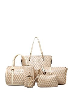 Letter Checked Patent Leather Shoulder Bag - Off-white