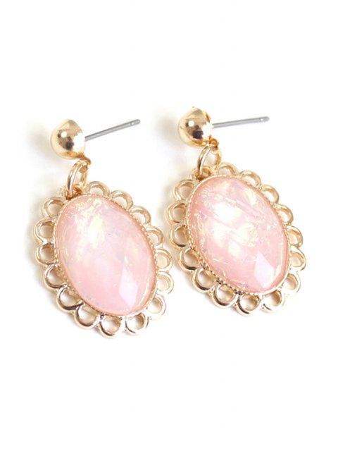 lady Oval Faux Gemstone Earrings - PINK  Mobile