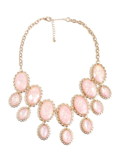 fancy Oval Faux Gemstone Necklace - PINK  Mobile