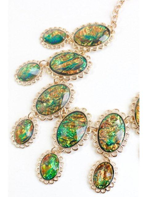 chic Oval Faux Gemstone Necklace -   Mobile