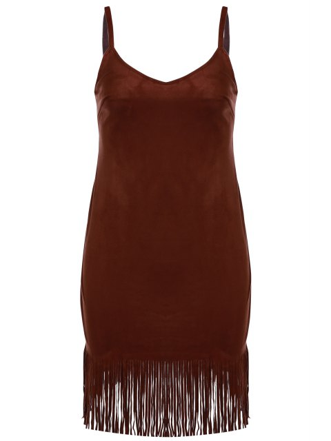 best Spaghetti Strap Fringed Suede Dress - BROWN S Mobile