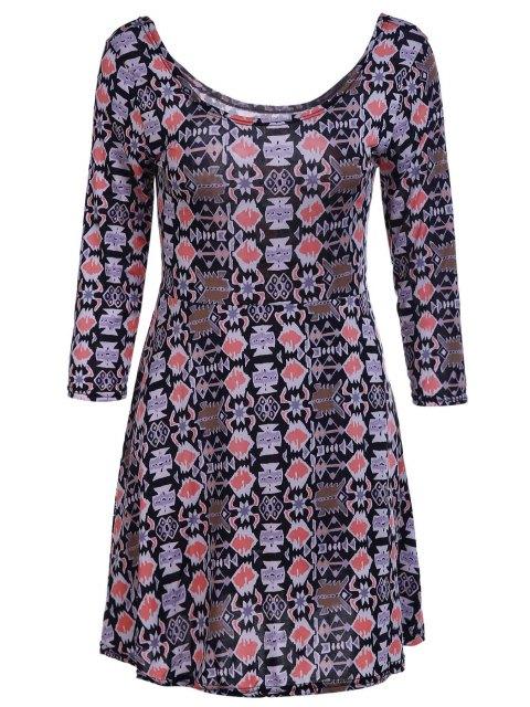 affordable Geometric Print Scoop Neck 3/4 Sleeve Dress - KHAKI L Mobile