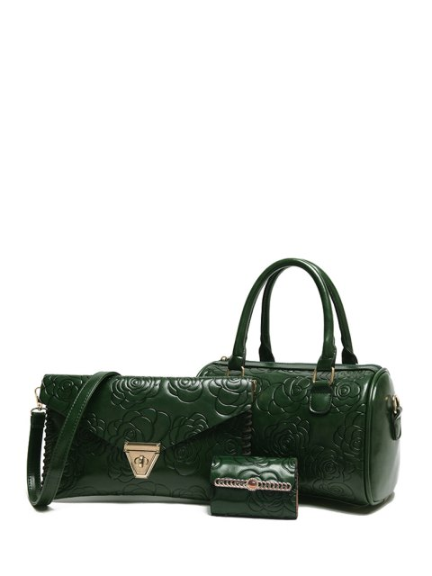 online Floral Embossing Solid Color Tote Bag - GREEN  Mobile