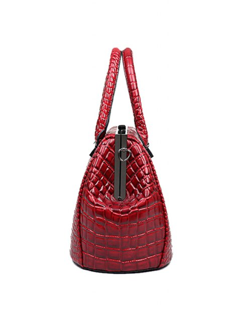 fancy Crocodile Print Clip Closure Tote Bag - WINE RED  Mobile