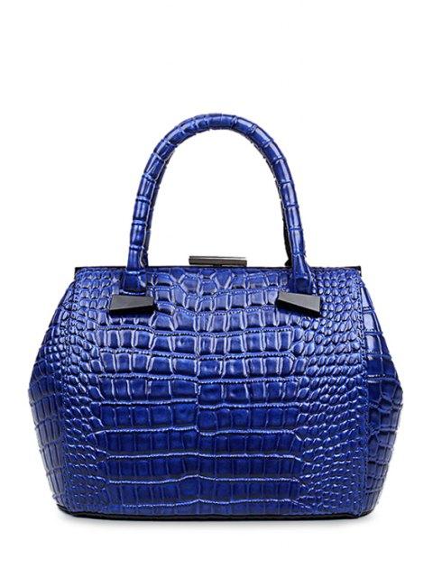 latest Crocodile Print Clip Closure Tote Bag - BLUE  Mobile