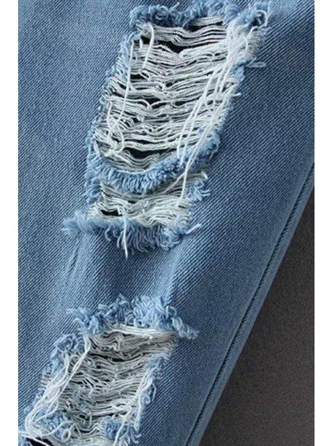 fancy Broken Hole Narrow Feet Jeans - LIGHT BLUE S Mobile