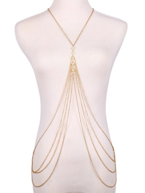 fashion Faux Pearl Decorated Multi-Layered Body Chain - GOLDEN  Mobile