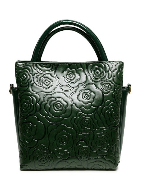 womens Floral Embossing Solid Color Tote Bag - GREEN  Mobile