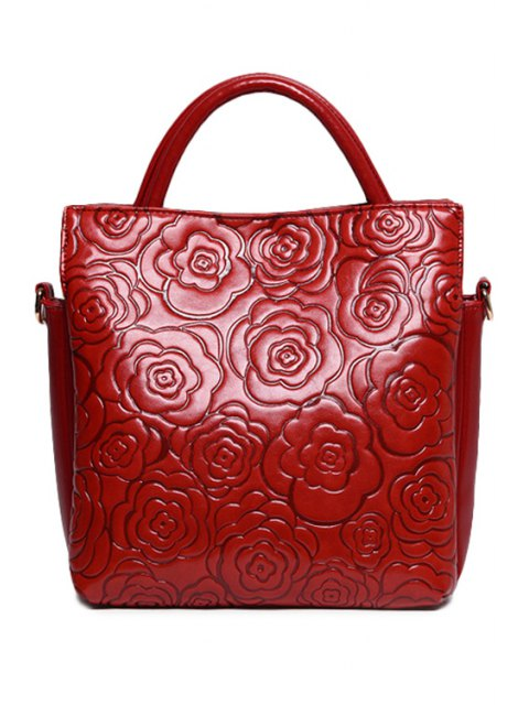 Floral gaufrage Solide Couleur Sac fourre-tout - Rouge vineux   Mobile