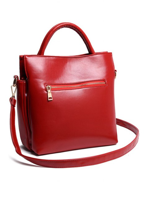 buy Floral Embossing Solid Color Tote Bag - WINE RED  Mobile