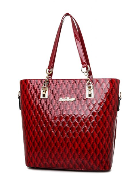trendy Letter Checked Patent Leather Shoulder Bag - WINE RED  Mobile