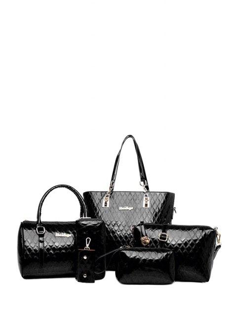 shops Letter Checked Patent Leather Shoulder Bag - BLACK  Mobile