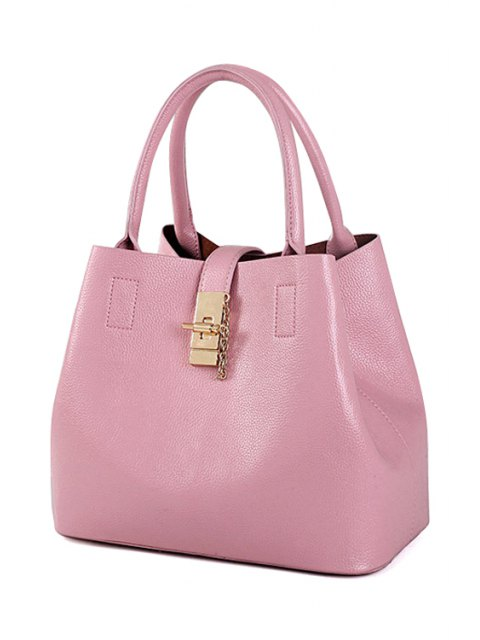 outfit Metallic Hasp Solid Color Tote Bag - PINK  Mobile