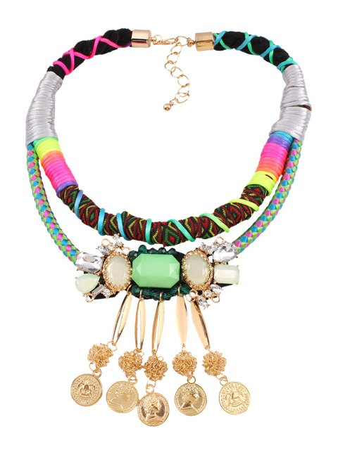 latest Bohemia Multilayered Coin Fringed Necklace - COLORMIX  Mobile
