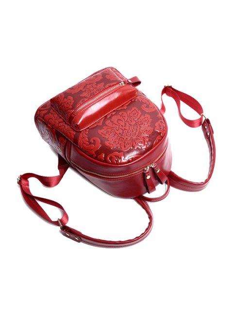 Floral gaufré Solid Color Satchel - Rouge vineux   Mobile