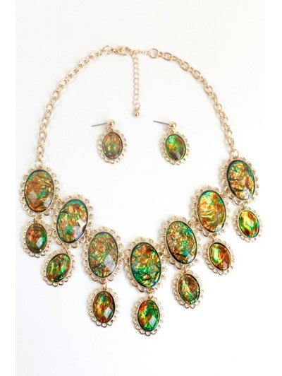 Oval Faux Gemstone Necklace - COLORMIX  Mobile