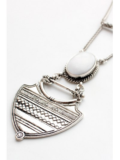 Vintage Alloy Geometric Pendant Sweater Chain - SILVER  Mobile