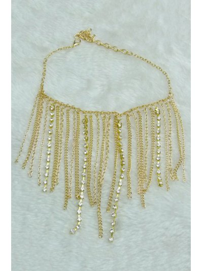 Stylish Rhinestoned Link Chain Anklet - GOLDEN  Mobile