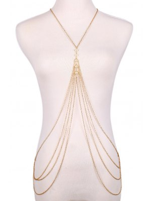 Faux Pearl Decorated Multi-Layered Body Chain - Golden