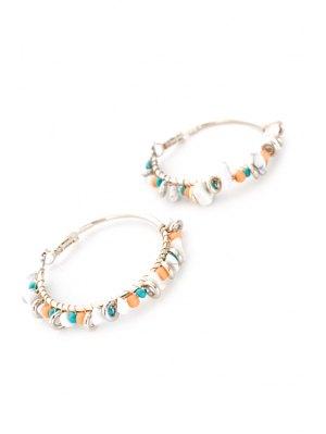 Bohemia Bead Hoop Earrings - Silver