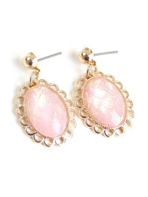 Oval Faux Gemstone Earrings - Pink