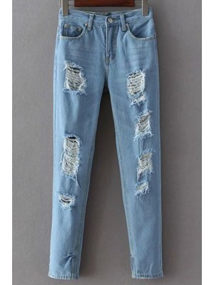 Broken Hole Narrow Feet Jeans - Light Blue