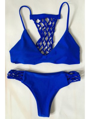 Blue Hollow Out Cami Bikini Set - Blue