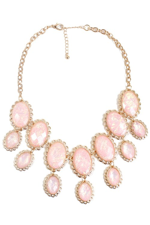 exquisite oval faux gemstone necklace pink necklace zaful