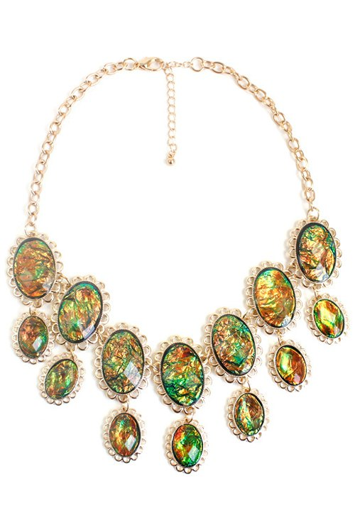 exquisite oval faux gemstone necklace colormix necklace