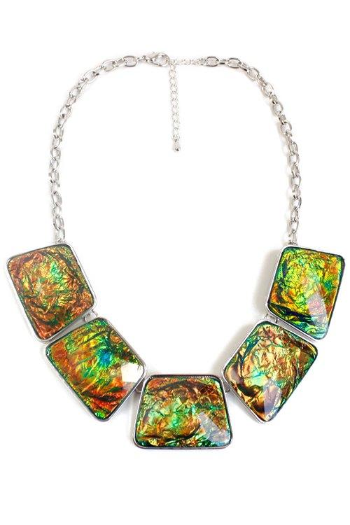exquisite geometric faux gemstone necklace colormix