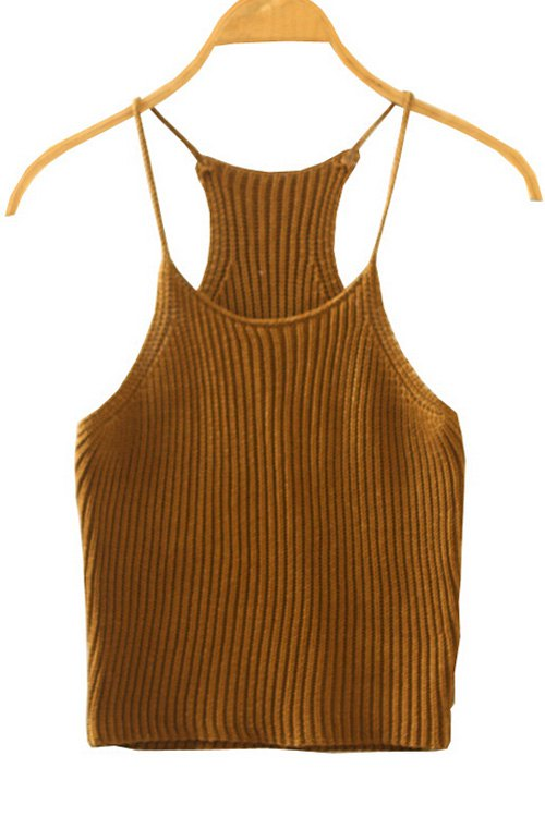 Spaghetti Straps Crocheted Tank Top