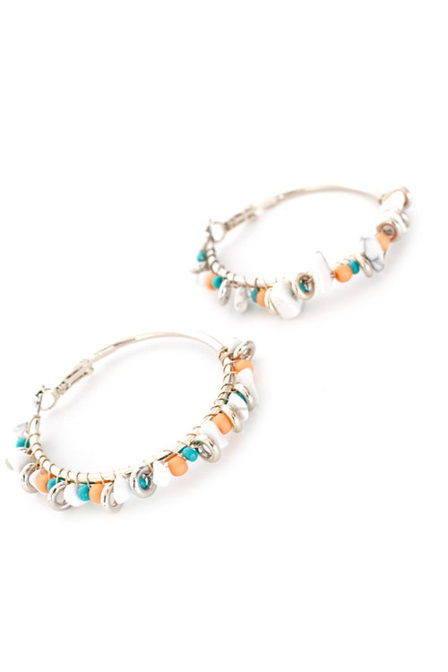 Pair of Chic Bohemia Bead Hoop Earrings For Women