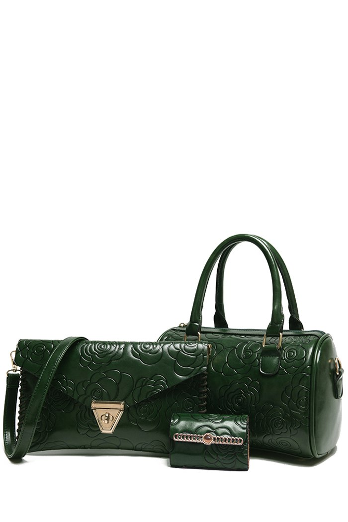 Floral Embossing Solid Color Tote BagAccessories<br><br><br>Color: GREEN