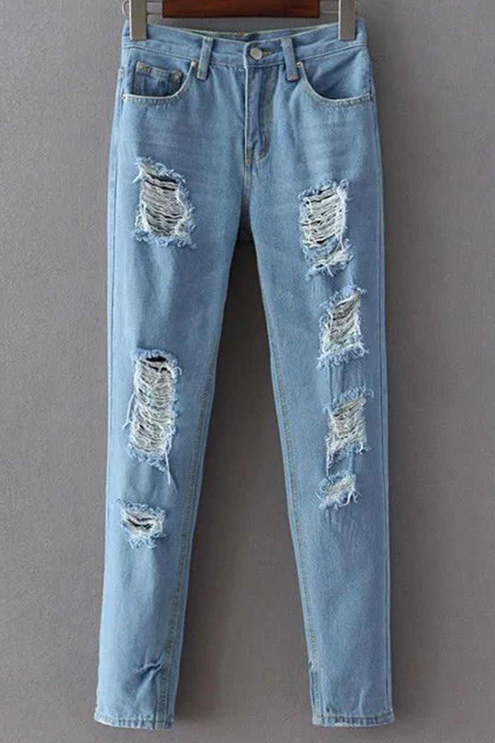 Narrow Feet Broken Hole Jeans