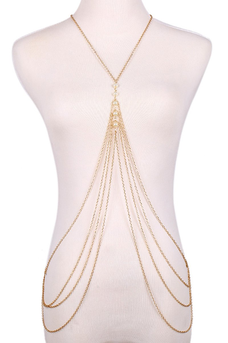 Fashionable Faux Pearl Decorated Multi-Layered Body Chain For Women