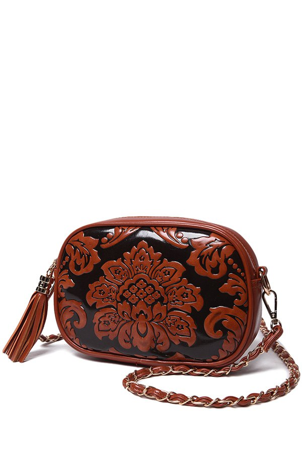 Floral Embossed Chains Tassel Crossbody Bag BROWN Bags | ZAFUL