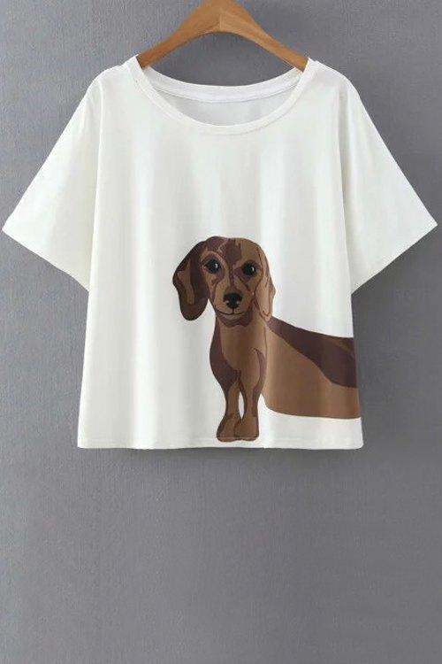 Round Neck Short Sleeve Puppy Pattern White T-Shirt