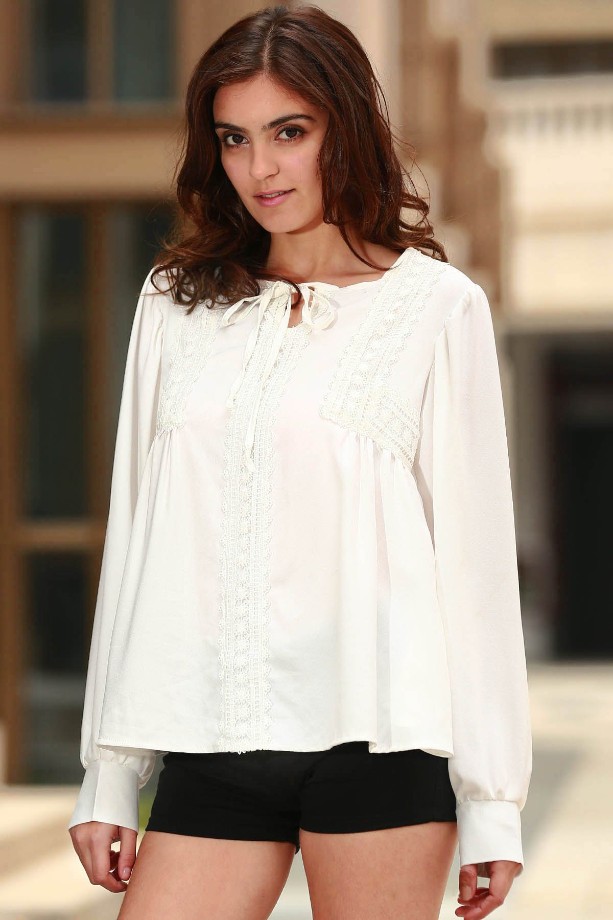 Lace Spliced Round Collar Long Sleeve Blouse