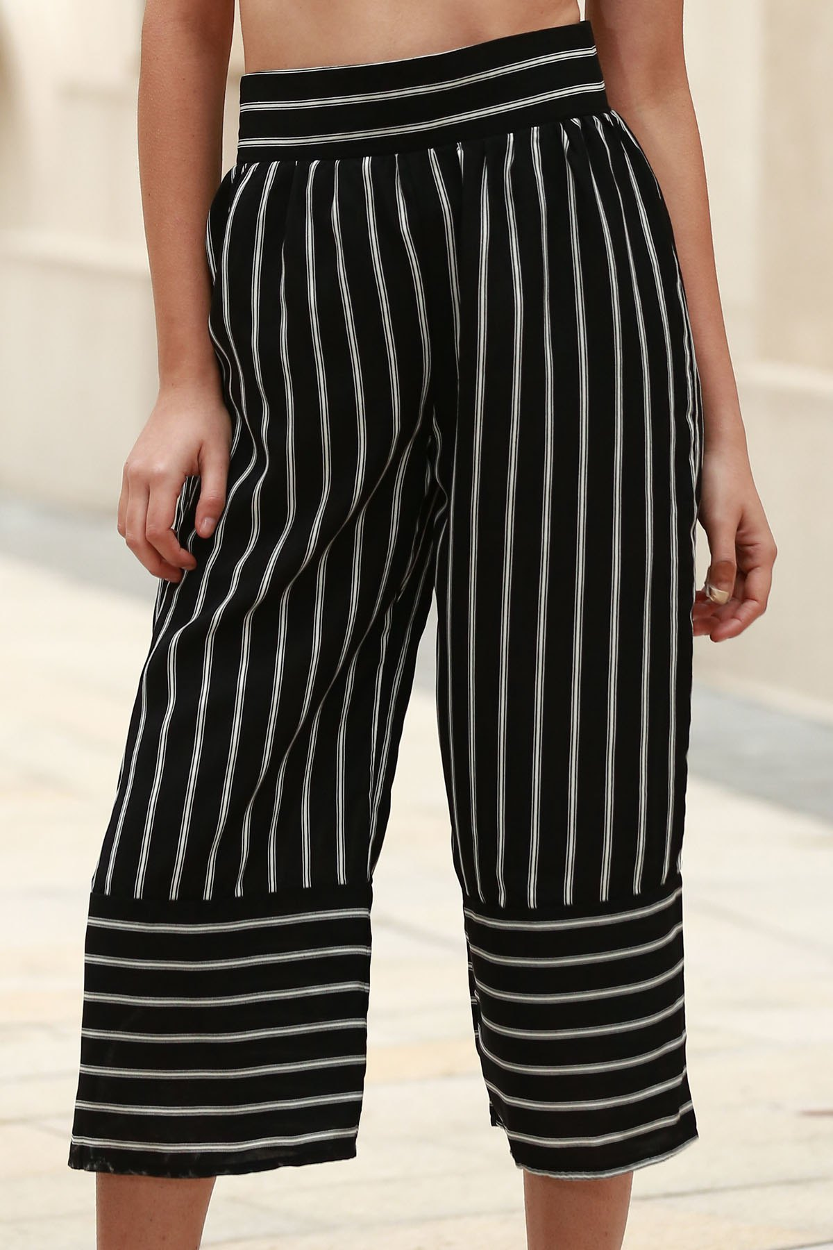 High Waist Stripe Wide Leg Capri Pants