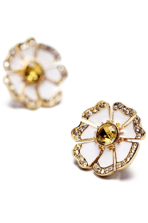 Chic Rhinestone Glaze Floral Earrings