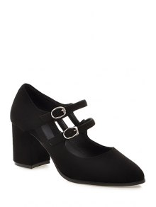 Buy Double Buckles Solid Color Pointed Toe Pumps - BLACK 38