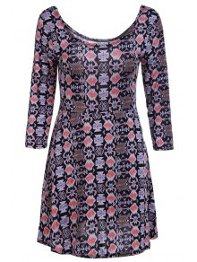 Geometric Print Scoop Neck 3/4 Sleeve Dress