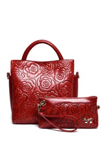 Floral Embossing Solid Color Tote Bag