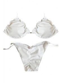 White Ruffled Halter Bikini Set